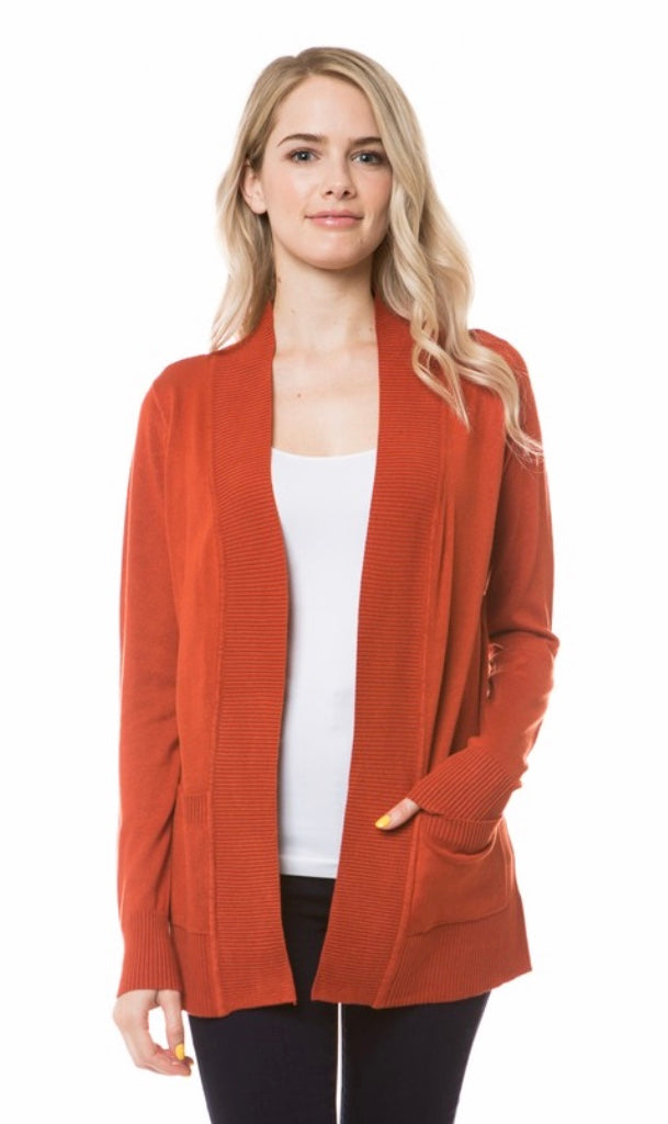 Open Knit Cardigan in Red