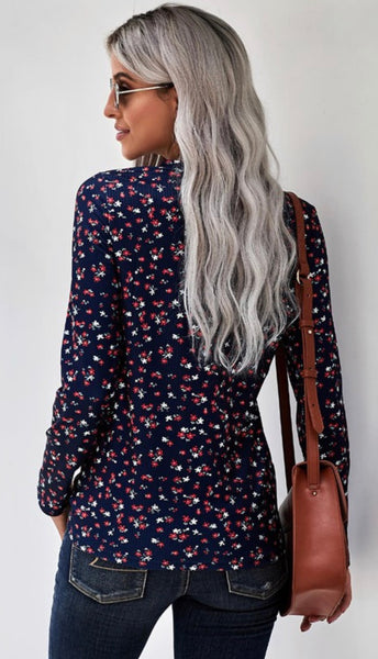 Floral Print Long Sleeve with Button Detail