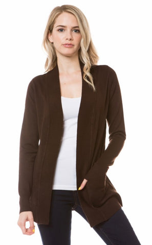 Open Knit Cardigan in Brown