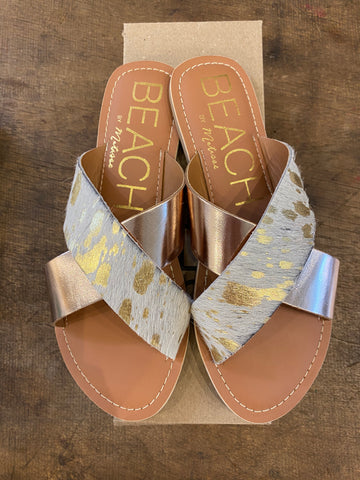 Pebble with Rose Gold/Gold Cowhair Print Slides