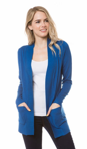 Open Knit Cardigan in Dark Cobalt Blue