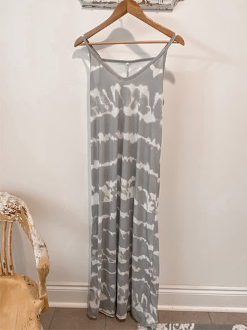 Grey Tye-Dye Maxi Dress (Plus Sizes)