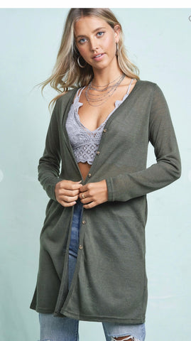 Button Down Front Cardigan in Olive