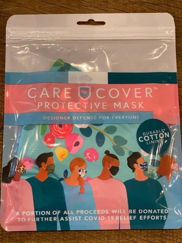 Teal Floral Print Cover Care Mask