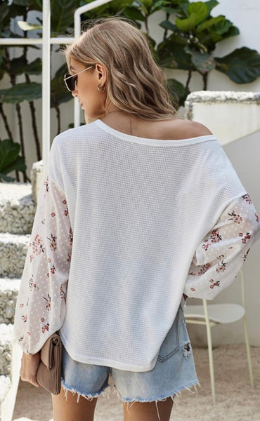 Floral Print Sleeve Waffle Top