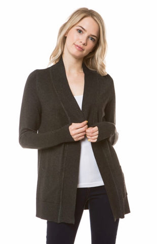 Open Knit Cardigan in Charcoal Gray