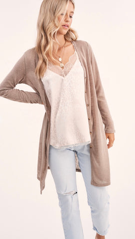 Button Down Front Cardigan in Taupe