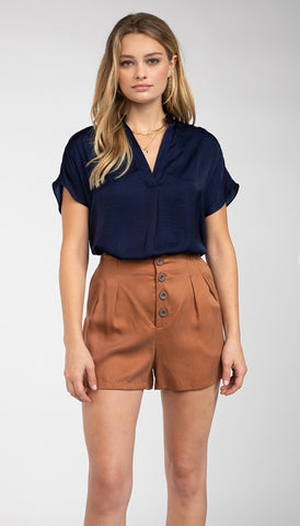 Drop Shoulder Blouse in Deep Navy