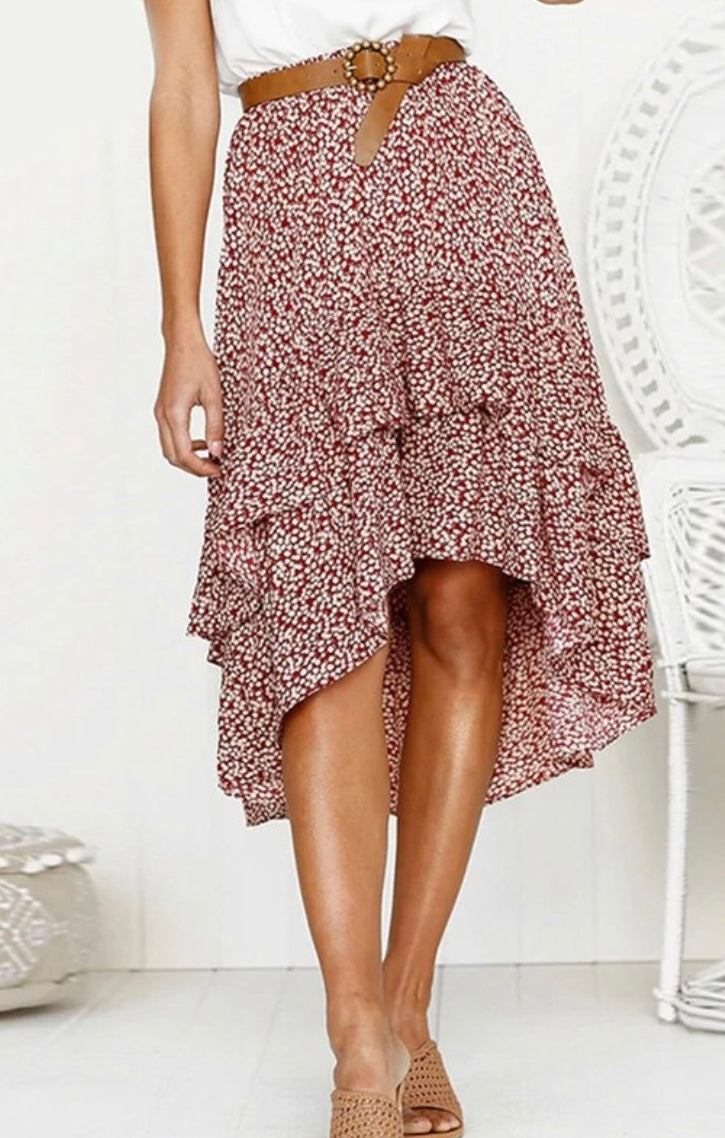Polka Dot Ruffle Midi Skirt in Red