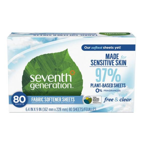 Seventh Generation – Fabric Softener Sheets, Free & Clear, 80 Sheets
