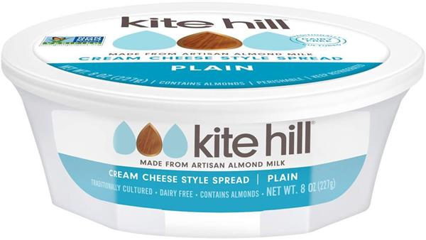 Kite Hill Artisan Almond Milk Cream Cheese Spread, Plain, 8 Oz