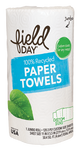 Field Day — 100% RECYCLED PAPER TOWELS, CUSTOM SIZE, SINGLE ROLL