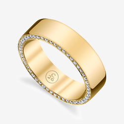 Grande Zoe Flat Edge Band with Diamonds