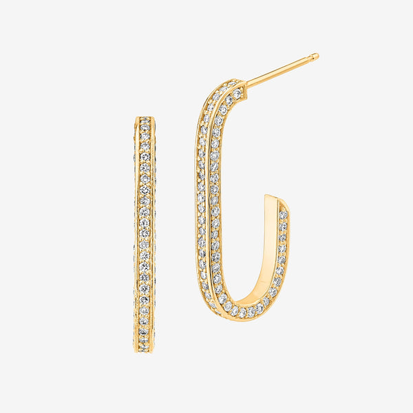 18K Yellow Gold Diamond J Hoops