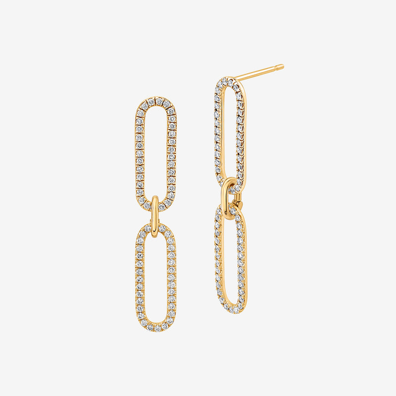 18K Yellow Gold Link Diamond Earring. Handcrafted in New York City