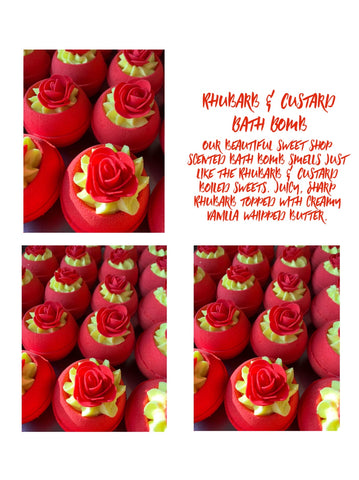 Rhubarb & Custard fruity scented Bath Bomb