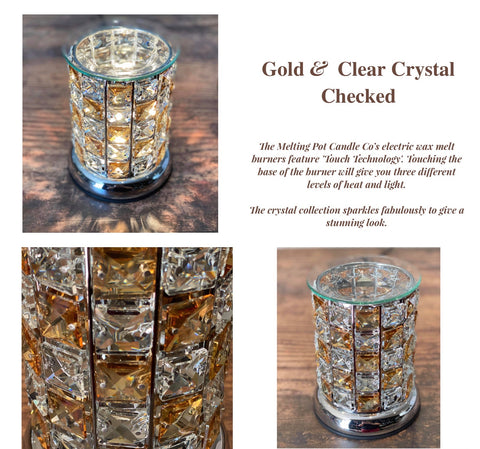 Crystal Electric Wax Burner - Gold & Clear