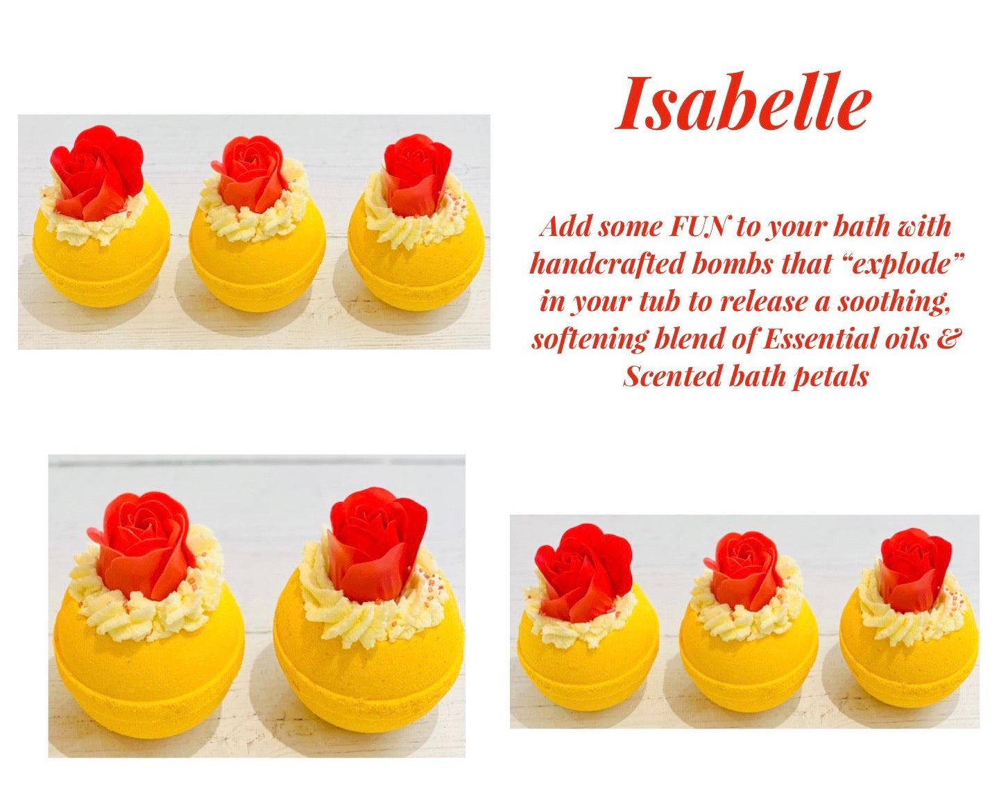 Isabelle Bath Bomb with foaming coconut butter and bathing petals