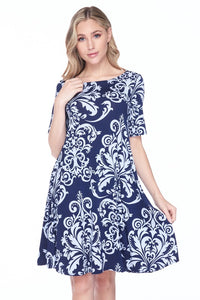 Short Sleeve Navy and White Damask Dress