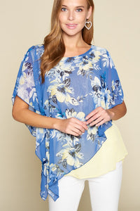 Floral Chiffon Contrast Top