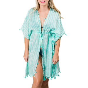 Sabine Cover-Up: Mint Green Feathers