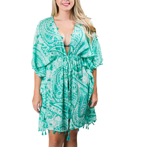 Sabine Cover-Up: Mint Green Paisley