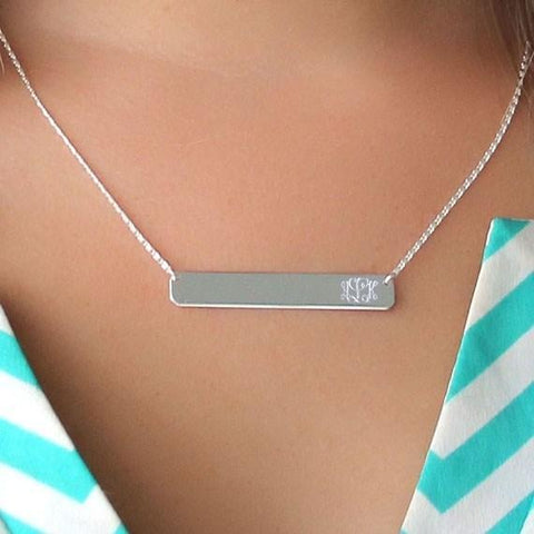 Monogram Bar Necklace Sterling Silver (Lead Time 2 Weeks)