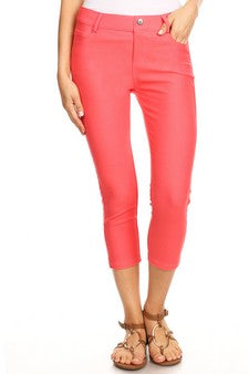 Coral Jeggings Capri 5 Pocket Pull on Stretch