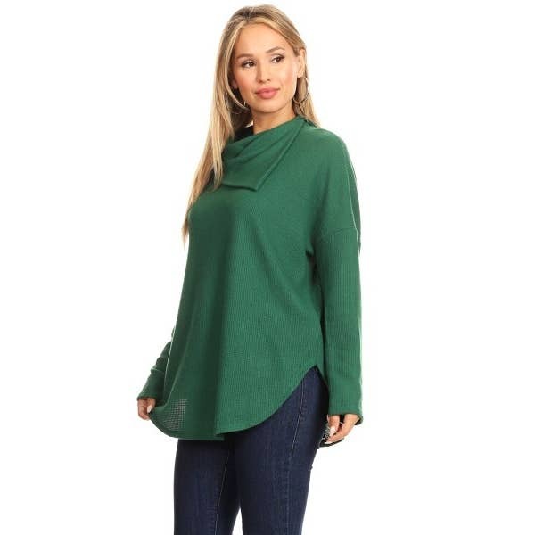 Green Soft Knit Cowl Neck Top