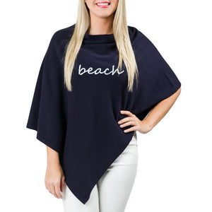 Boardwalk Poncho: Navy Blue with White Beach Font