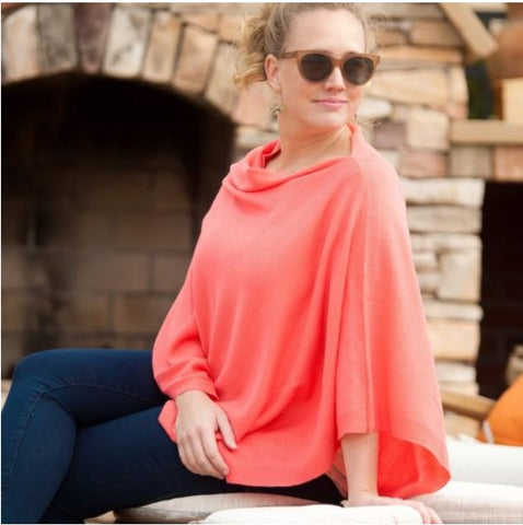 Coral Chelsea Poncho (Lead Time 2 Weeks)