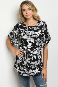 Black & White Floral Print Tunic Top with Ruffled Short Sleeves