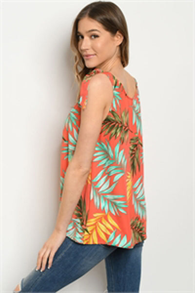 Topical Leaf Print Tunic Top