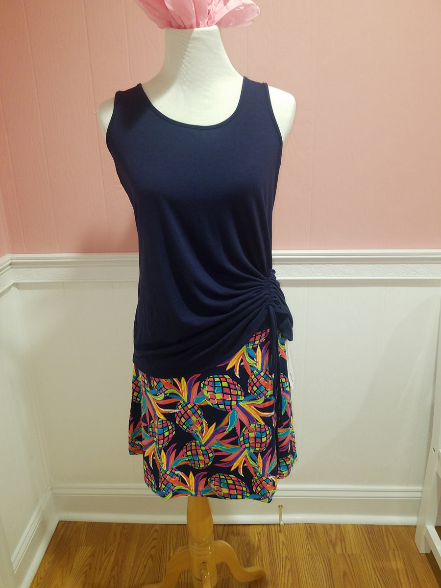 Lulu B. Zip Skort - Navy Pineapple