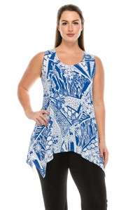 Tunic Top - Royal Blue & White Abstract Print