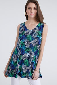 Tunic Top - Turquoise & Navy Abstract Print