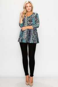 Top - Turquoise and Navy  Abstract Print