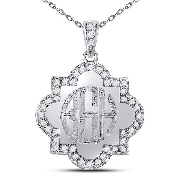 Quatrefoil Monogram Necklace Sterling Silver (Lead Time 2 Weeks)