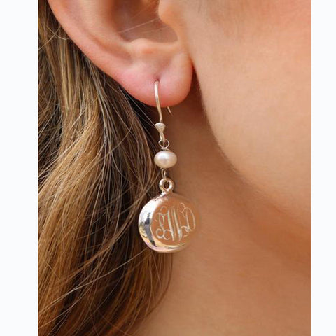 Dangly Pearl Monogram Earrings Silver Plated (Lead Time 2 Weeks)