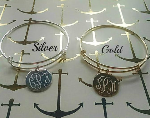 Monogram Plated Expandable Bangle (Lead Time 2 Weeks)