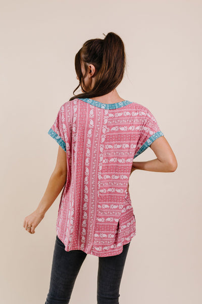 Paisley Block Party Top In Mauve