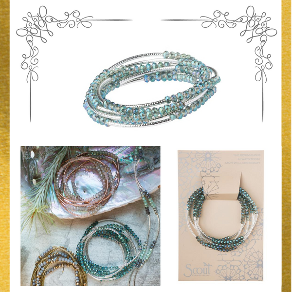Seabreeze Silver Wrap Bracelet/Necklace on Inspirational Card