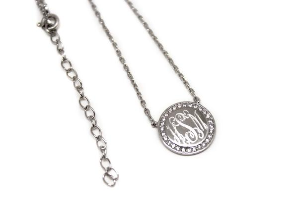 Monogram Circle Pave Necklace  Sterling Silver (Lead Time 2 Weeks)