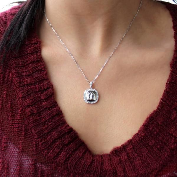Monogram Square Pave Necklace  Sterling Silver (Lead Time 2 Weeks)