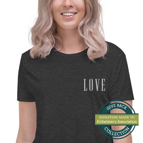 LOVE | Embroidered Crop Tee