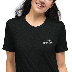 Auntie | Embroidered Tri-blend T-Shirt