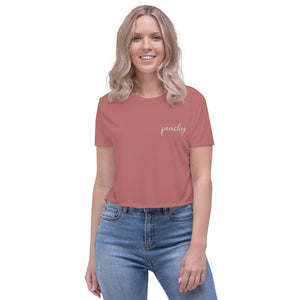 Peachy | Embroidered Crop Tee