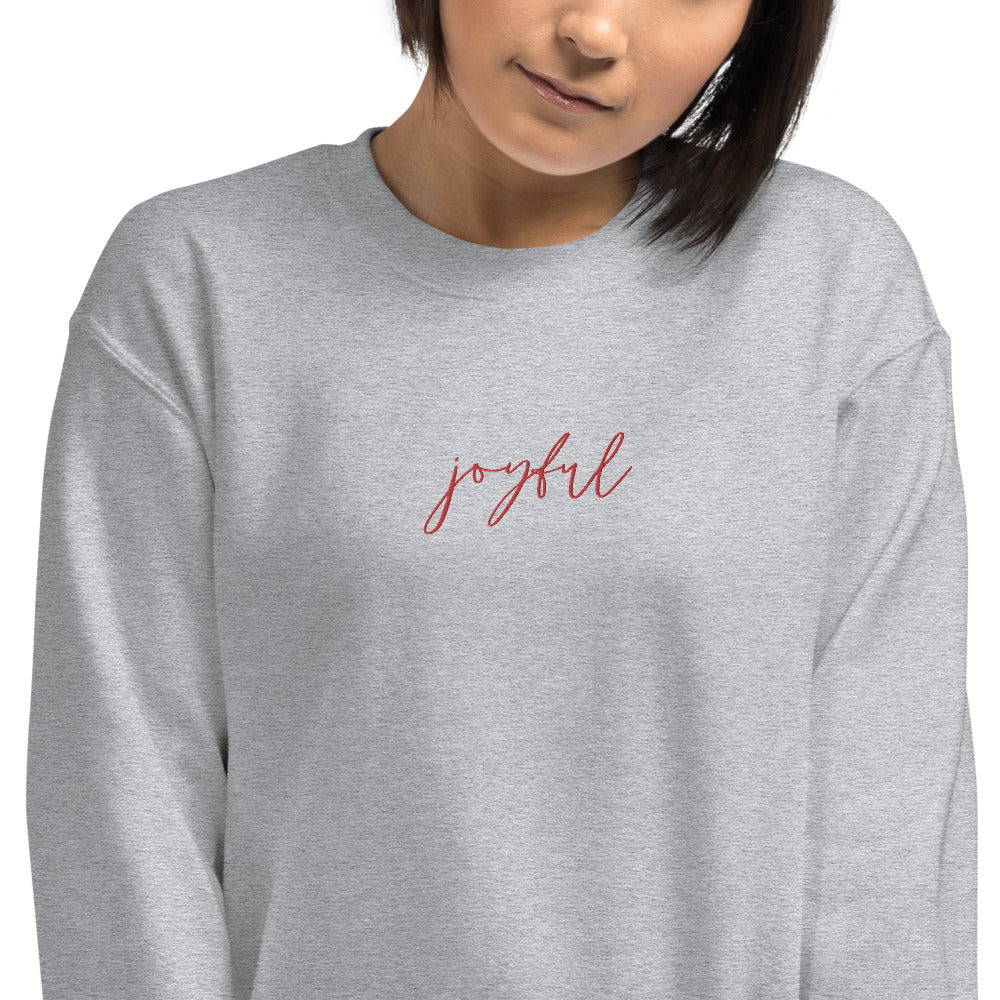Joyful | Embroidered Crew Neck Sweatshirt