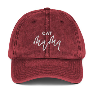 Cat Mama | Embroidered Vintage Cotton Twill Cap