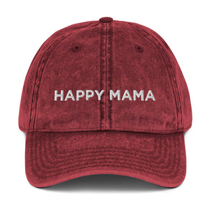 Happy Mama | Embroidered Vintage Cotton Twill Hat